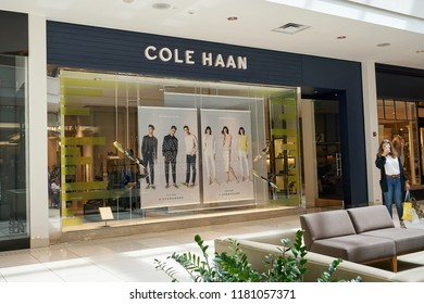 AVENTURA, USA - AUGUST 23, 2018: Cole Haan famous boutique in Aventura Mall. Cole Haan is a global men's and women's footwear and accessories brand