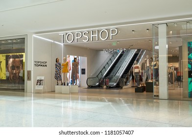 AVENTURA, USA - AUGUST 23, 2018: Topshop famous boutique in Aventura Mall. Topshop is a British fashion retailer of clothing, shoes and accessories.