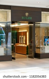 AVENTURA, USA - AUGUST 23, 2018: Rolex famous boutique in Aventura Mall. Rolex is a Swiss luxury watchmaker company