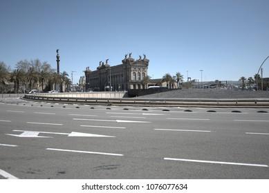 Avenue in Barcelona city