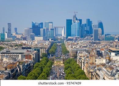 The Avenue Charles de Gaulle and La Defense, Paris.