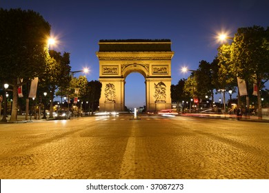 Avenue des Champs-Elysees in Paris leading up to the international landmark the Arc de Triomphe