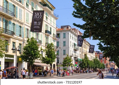 Avenue Jean Medecin is a pedestrian shopping street with a tramway - Nice, France, 8 July 2013