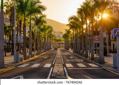 Avenue las Americas in Playa de la Americas on Tenerife, Canary Islands in Spain.