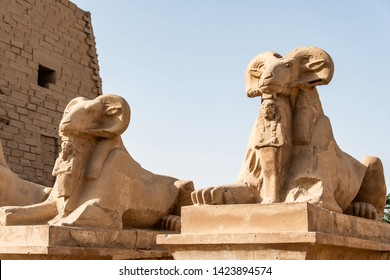 Avenue of the Ram Head Sphinxes Karnak Temple in Luxor, Egypt