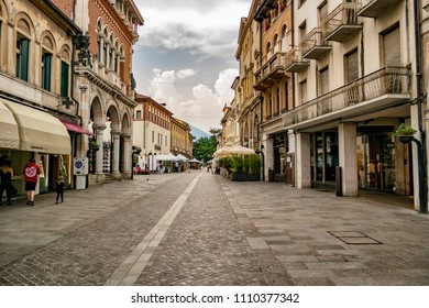 Avenue of the village of Thiene, province of Vicenza. May 27, 2018 Thiene, Vicenza - Italy
