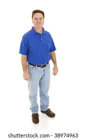 Average, casually dressed man in his forties.  Full body isolated on white.