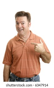 Average forty year old guy pointing to himself with a questioning look as if to say Who Me?  Isolated on white.