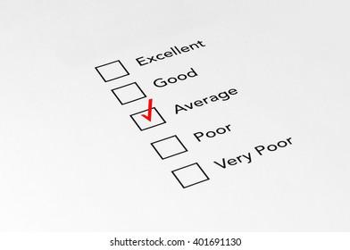 Average Mark on performance evaluation - Business Concept