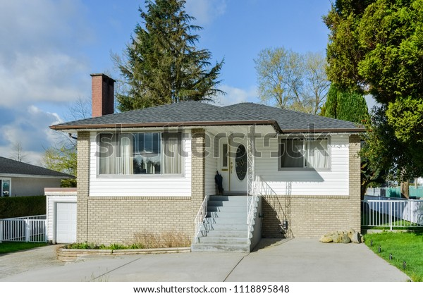 Average Residential House Concrete Stairs Paved Stock Photo Edit