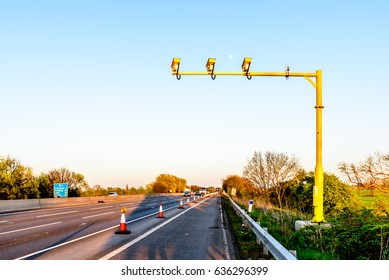 Average Speed Camera on UK Motorway Evening
