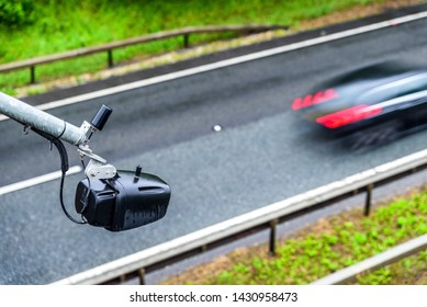 average speed traffic monitor camera over UK Motorway