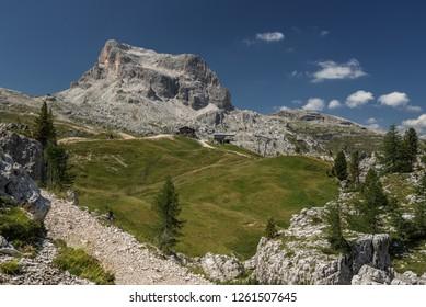 Averau, he highest mountain of Nuvolau group as seen from the Nuvalau refuge trail of Alta Via 1 trek from Lagazuoli refuge, Cortina d'Ampezzo, Belluno province, Dolomites, Italy