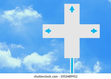 Blank sign, white guide avertisement, plus sign shape with 3 blue arrows.on the sky, clean Clouds.
