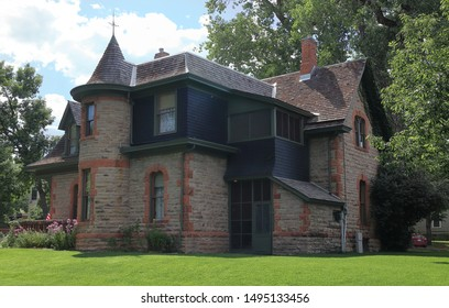 Avery house - historical landmark of Fort Collins, Colorado,  at bright sunny day