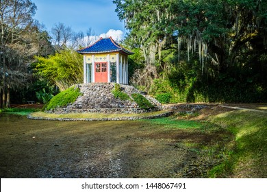 Avery Island, LA, USA - Jan 14, 2017: The publicly open Tabasco Buddha garden area