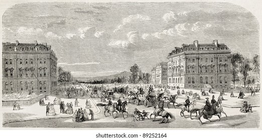 Avevue de l'Imperatrice, old view (Empress avenue). In present days Avenue Foch. Created by Provost, published on L'Illustration, Journal Universel, Paris, 1858