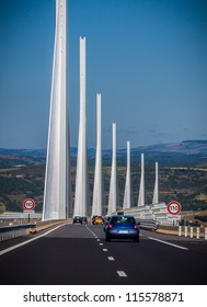 AVEYRON DEPARTMENT, FRANCE - SEPTEMBER 16 - Millau Viaduct, the largest bridge in the world, as seen from a car on September 16, 2012 in Aveyron Department, France
