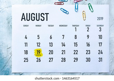 Aviation day. 19th August 2019 highlighted on the calendar
