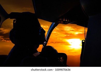 Aviation Helicopter cockpit view sunset