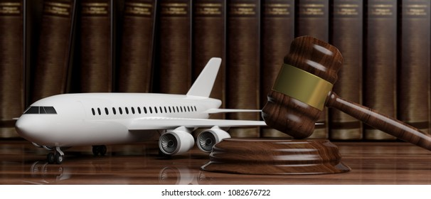 Aviation Law concept. Blank commercial airplane and judge gavel on legal books background. 3d illustration