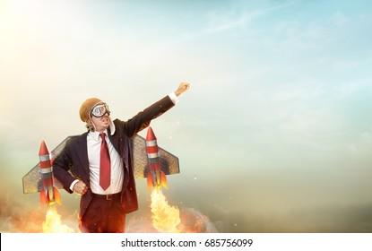Aviator Businessman With Jetpack On His Back - Start Up Concept - 3d Render