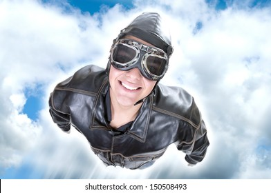 aviator flying in the blue sky