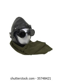Aviator kit consisting of black leather aviation cap, goggles and a long scarf - path included