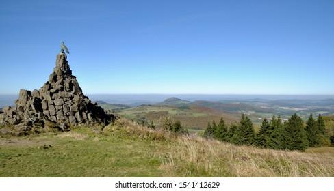 Aviator Monument on Wasserkuppe Mountain in Rhoen region,Hesse,Germany