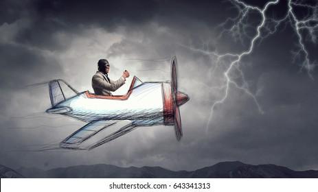Aviator in retro plane. Mixed media . Mixed media