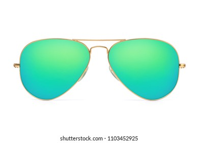 Aviator sunglasses gold frame with multicolor green mirror lens isolated on white background with clipping path