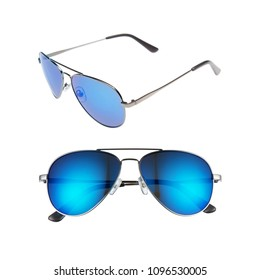 Aviator Sunglasses Isolated on White Background. Front and Side View of the Sun Glasses with Gradient Blue Lenses and Metal Arms. Modern Protective Eyewear Shades. Eye Protection Accessories