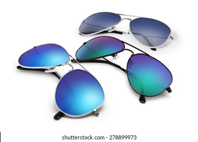 aviator sunglasses isolated on white background with blue mirrored lenses
