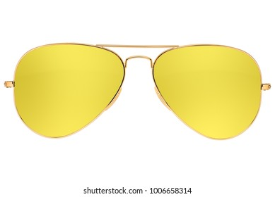 Aviator yellow sunglasses isolated on white background with clipping path