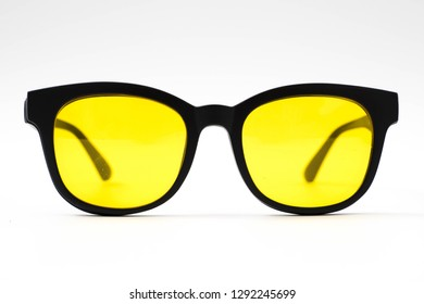 aviator yellow sunglasses isolated on white background