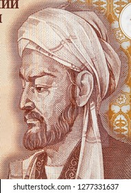 Avicenna or Ibn Sina on Tajikistan 20 somoni banknote close up. Great muslim physician, father of early modern medicine.