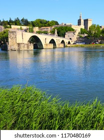 The Avignon Bridge, The Palace of the Popes and the Rhone in Provence, France