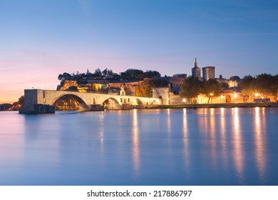Avignon Bridge with Popes Palace and Rhone river at dawn, Pont Saint-Benezet, Provence, France