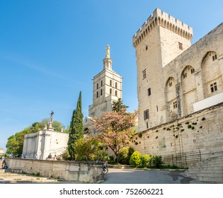 Avignon cathedral (Cathedral of Our Lady of Doms) next to Papal palace (Palais des Papes)  under clear blue sky in Avignon, France