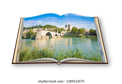 Avignon city with the ancient broken medieval bridge of Saint Benezet (Europe-France-Provence) - 3D render concept image of an opened photo book isolated on white