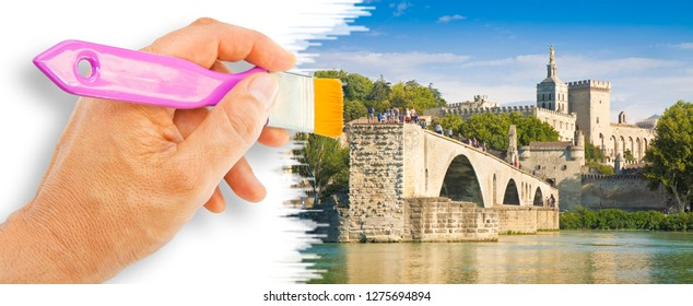 Avignon city with the ancient broken medieval bridge of Saint Benezet beyond the Rhone river (Europe-France-Provence) - Concept image