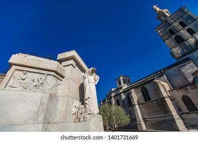 AVIGNON, FRANCE - APRIL 28, 2019: Avignon War memorial, Le monument aux morts at Jardin des doms in Avignon, France, Monument is made by Louis Botinelly at 1924.