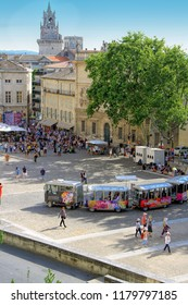 AVIGNON, FRANCE – JULY 04, 2015: the tourist train advertising the famous theatre festival  in Avignon -  the most important contemporary performing arts events in the world