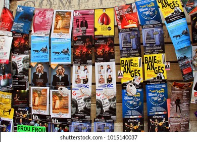 AVIGNON, FRANCE - July 08, 2017: Plenty of playbills on a wall during famous theatre festival from July 4 to 27 2014 in Avignon, south of France.