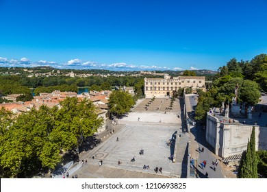 AVIGNON, FRANCE - JULY 11, 2016: Panoramic aerial view of Avignon in a beautiful summer day, France