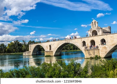 AVIGNON, FRANCE - JULY 11, 2016: Saint Benezet bridge in Avignon in a beautiful summer day, France