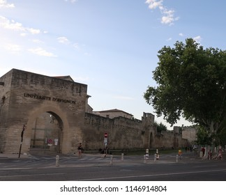 Avignon, France – July 14, 2018: photography showing the medieval city of Avignon. The photography was taken from the street of the city of Avignon, France.