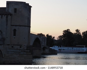 Avignon, France – July 14, 2018: photography showing the famous bridge of Avignon, France. The photography was taken from the street of the city of Avignon, France.