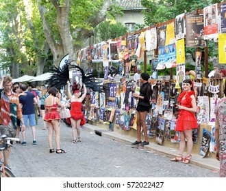 AVIGNON, FRANCE - JULY 19, 2016: Dancing artists on the annual art and theater festival in the month of july in various locations in the city and on the streets. Founded in 1947 by Jean Vilar.