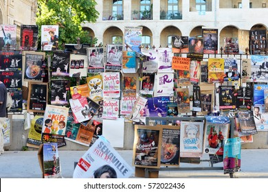 AVIGNON, FRANCE - JULY 19, 2016: Annual art and theater festival in the month of july in various locations in the city and on the streets. Founded in 1947 by Jean Vilar.